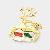 Christmas Reindeer Pin Brooch