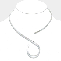 Hammered Swirl Metal Open Choker Necklace