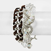 Glass bead & woven faux suede link toggle bracelet