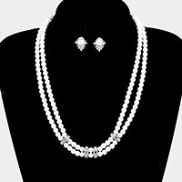 Crystal rhinestone detail double pearl strand necklace