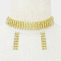 Crystal rhinestone choker evening necklace