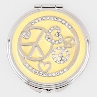Crystal Heart & Peace Symbol Round Compact Mirror with Pouch