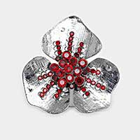 Rhinestone detail metal flower ring