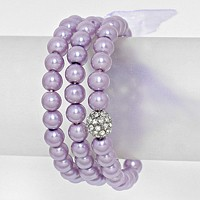Crystal Ball Accented Pearl Stretch Bracelet