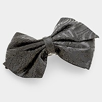 Zebra pattern bow hair barrette