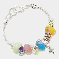 Multi Bead Wine Bottle & Grape Bracelet