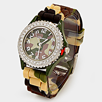 CRYSTAL FRAME CAMOUFLAGE JELLY BAND FASHION WATCH