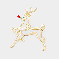 Rudolph Cut out Christmas Brooch