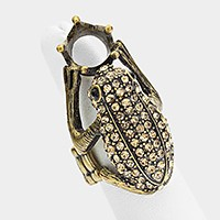 Rhinestone pave frog stretch ring