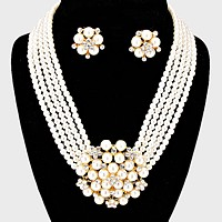 Rhinestone Accented Floral Pearl Cluster Necklace