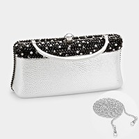 crystal evening clutch bag with strap _ reduced price
