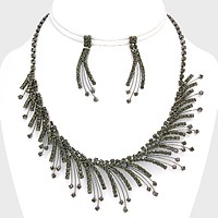 Oblique rhinestone flame necklace