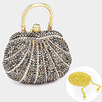 Crystal pave hard shell evening clutch bag with metal chain strap