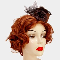 Petite flower mesh bow hat fascinator