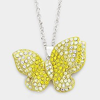 Crystal pave butterfly pendant long necklace