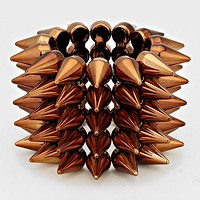 5-Row Spike Cone Stud Stretch Bracelet