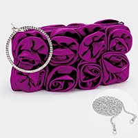 Elegant satin rose flower evening zip clutch bag