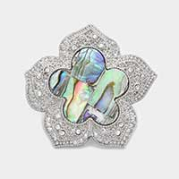 Abalone flower stretch ring