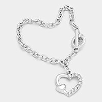 Crystal Accented Heart Charm Bracelet