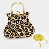 Leopard pattern crystal rhinestone evening bag