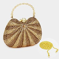 Patterned crystal rhinestone evening clutch bag _ reduced price
