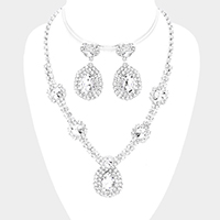 Teardrop Accented Rhinestone Necklace