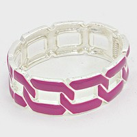 Curb Chain Cut out Enamel Hinged Bangle Bracelet