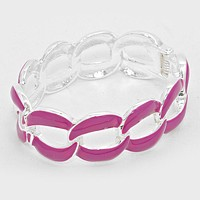 Link Chain Cut out Enamel Hinged Bangle Bracelet