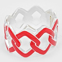 Chain Shape Cut out Enamel Hinged Bangle Bracelet