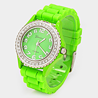 CRYSTAL FRAME JELLY BAND FASHION WATCH
