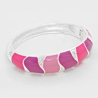 Color Block Enamel Hinged Bangle Bracelet
