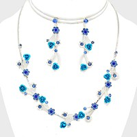Floral Rose Crystal Rhinestone Necklace