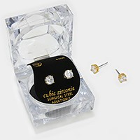 6 mm Round Cut Crystal Cubic Zirconia CZ Stud Earrings with Clear Box