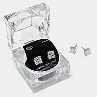 7 mm Square Crystal Cubic Zirconia CZ Stud Earrings with Clear Box