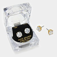9 mm Round Cut Crystal Cubic Zirconia CZ Stud Earrings with Clear Box