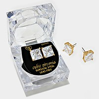 10 mm Square Crystal Cubic Zirconia CZ Stud Earrings with Clear Box