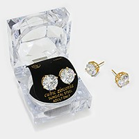 11 mm Round Cut Crystal Cubic Zirconia CZ Stud Earrings with Clear Box