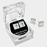 11 mm Square Crystal Cubic Zirconia CZ Stud Earrings with Clear Box
