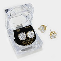 12 mm Round Cut Crystal Cubic Zirconia CZ Stud Earrings with Clear Box