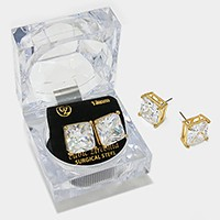 12 mm Square Crystal Cubic Zirconia CZ Stud Earrings with Clear Box