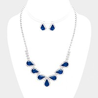 Rhinestone Trim Glass Crystal Teardrop Necklace