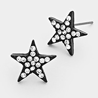 Crystal pave star stud earrings