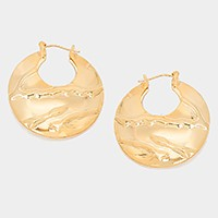 Metal crescent hoop pin catch earrings
