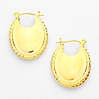 Oval metal pin catch earrings