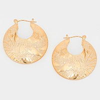 Textured metal crescent hoop pin catch earrings