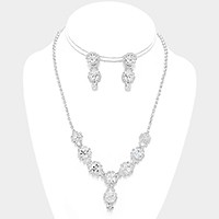 Crystal rhinestone bubble link necklace