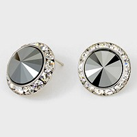 Rivoli Cut Genuine Austrian Crystal Round Stud Earrings