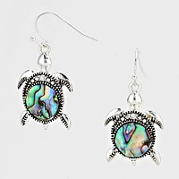 Abalone Turtle Drop Earrings
