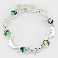 Abalone Disc & Dolphin Link Magnetic Bracelet