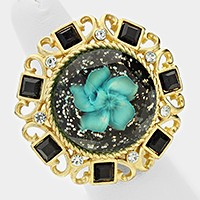 Glitter stone & flower stretch ring